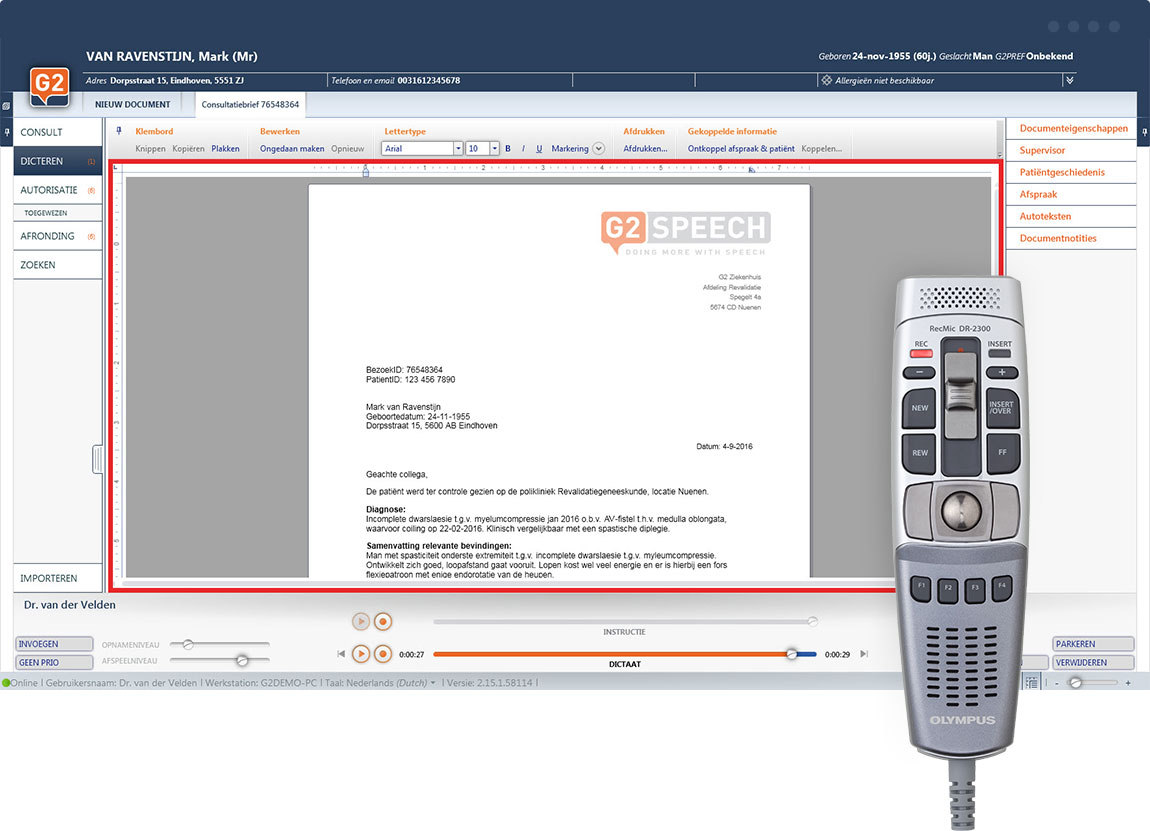 G2 Speech | SpeechReport | spraakherkenning en workflow